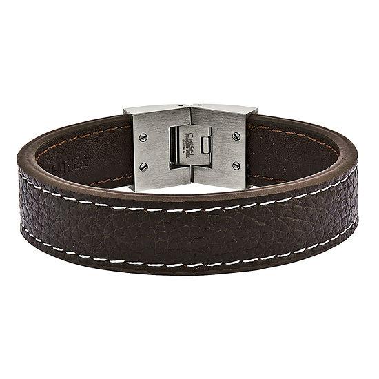 Mens Stainless Steel & Brown Leather Bracelet