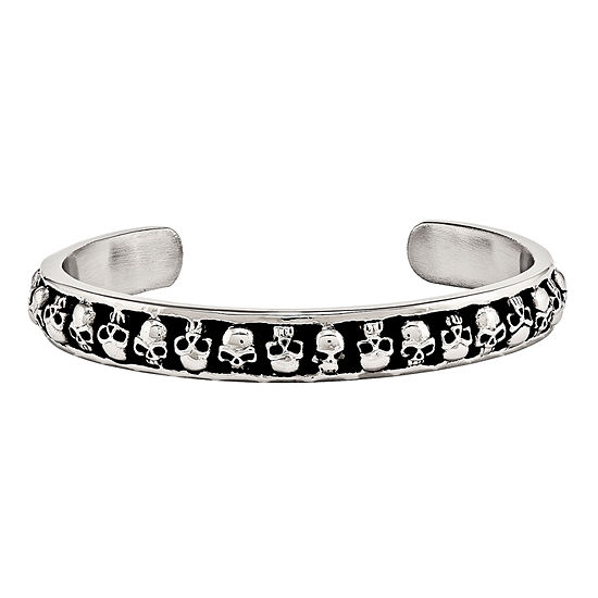 Mens Stainless Steel Antiqued Skull Cuff Bracelet