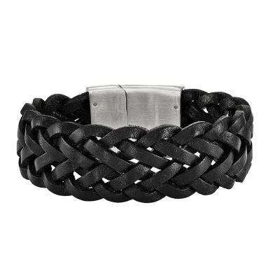 mens stainless steel black leather bracelet jcpenney