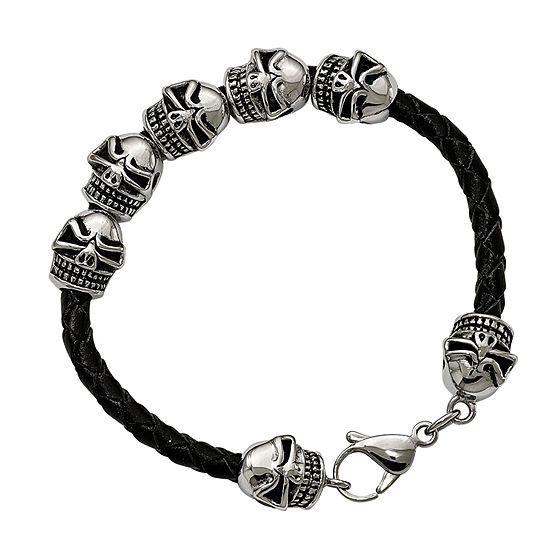 Mens Stainless Steel & Leather Antiqued Skull Bracelet