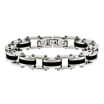 Mens Stainless Steel Black Ion-Plated Link Bracelet