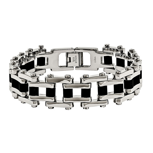Mens Stainless Steel & Black Rubber Chain Bracelet