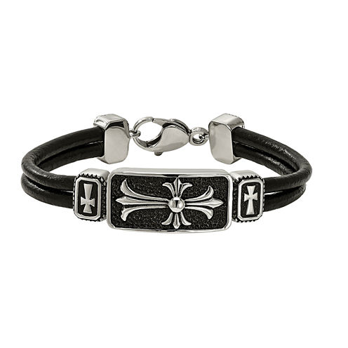 Mens Stainless Steel & Black Leather Cross Bracelet