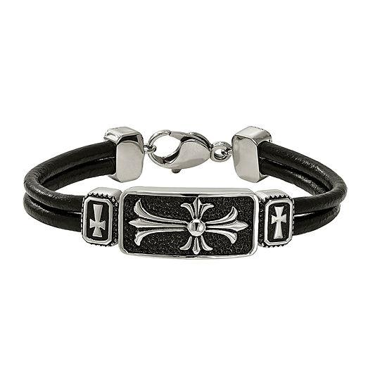 Mens Stainless Steel & Black Leather Cross Bracelet