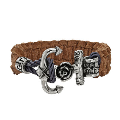 Mens Stainless Steel & Brown Leather Anchor Toggle Bracelet