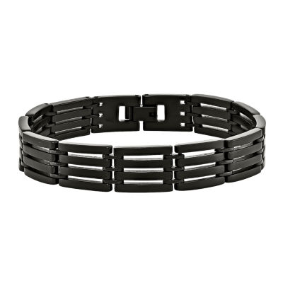 Mens Stainless Steel Black-Plated Bracelet