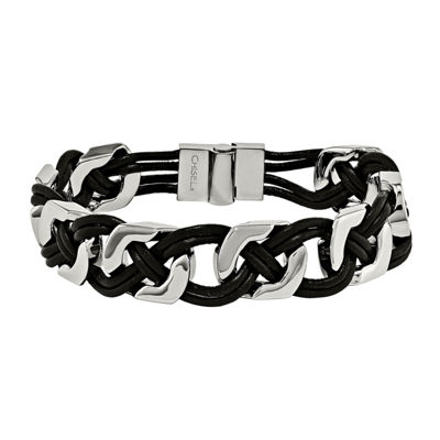 Mens Stainless Steel & Black Leather Chain Bracelet