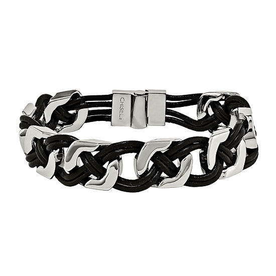 Mens Stainless Steel & Black Leather Chain Bracelet