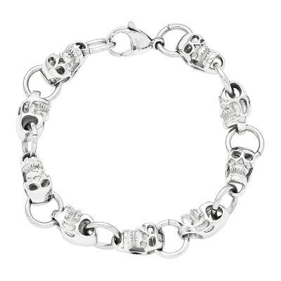 Mens Stainless Steel Skull Chain Bracelet
