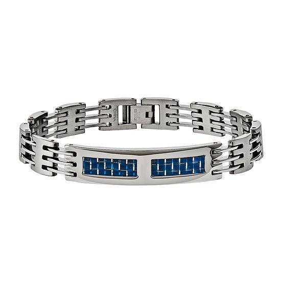 Mens Stainless Steel & Blue Carbon Fiber Chain Bracelet