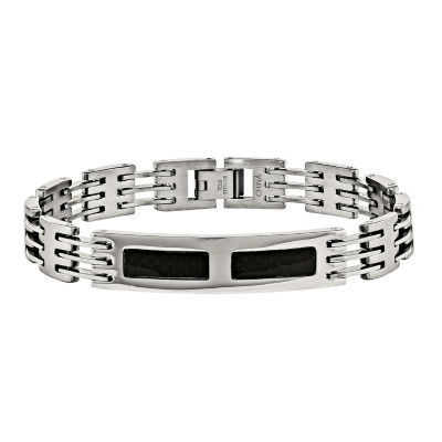 Mens Stainless Steel & Black Carbon Fiber Id Bracelet