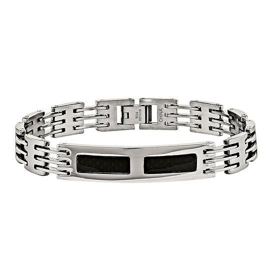 Mens Stainless Steel & Black Carbon Fiber Id Bracelet