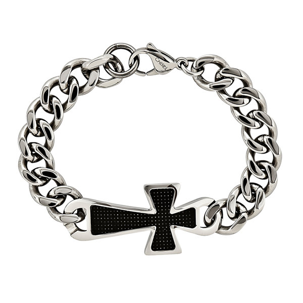 Mens Stainless Steel & Black Carbon Fiber Cross Chain Bracelet
