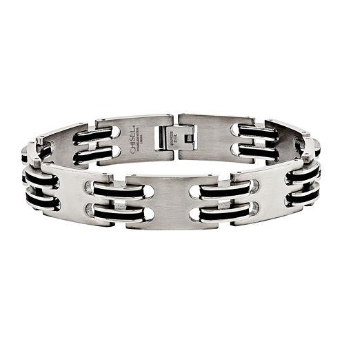 Mens Stainless Steel Black Ip-Plated Chain Bracelet