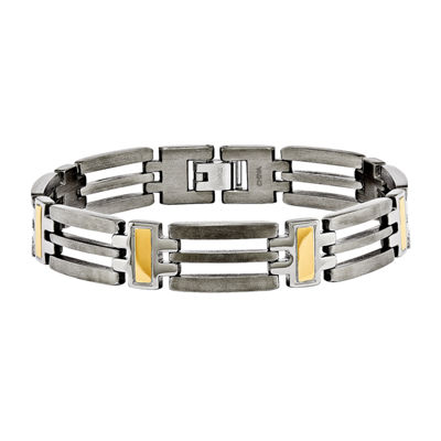 Mens Titanium Yellow Ip-Plated Chain Bracelet