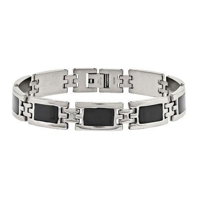 Mens Stainless Steel & Black Enamel Chain Bracelet