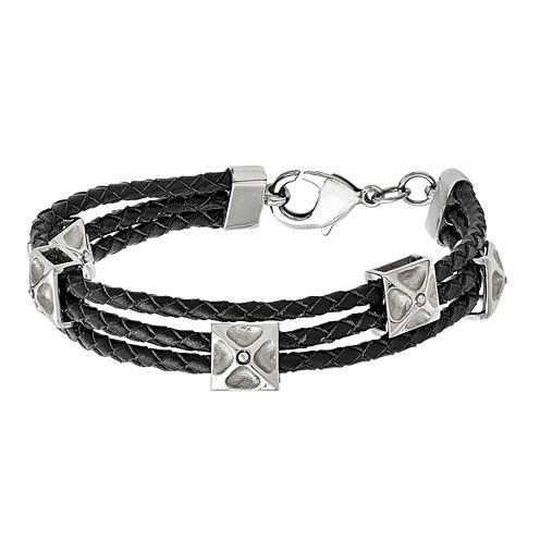 Mens Stainless Steel & Leather Bracelet