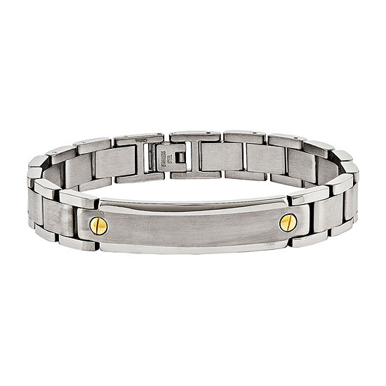 Mens Stainless Steel Yellow Ip Plated Id Bracelet