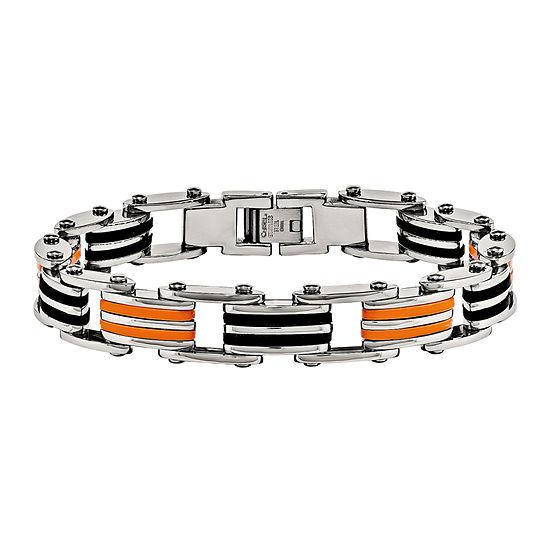 Mens Stainless Steel Black Orange Rubber Chain Bracelet