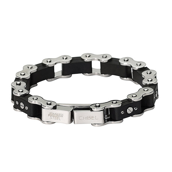 Mens Stainless Steel & Black Rubber Bracelet