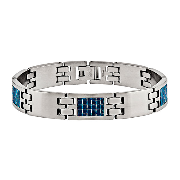 Mens Stainless Steel & Blue Carbon Fiber Chain Bracelet