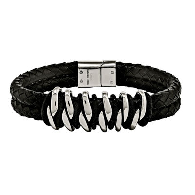 Mens Stainless Steel Black Rubber & Leather Bracelet