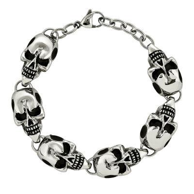 Mens Stainless Steel Antiqued Skulls Chain Bracelet