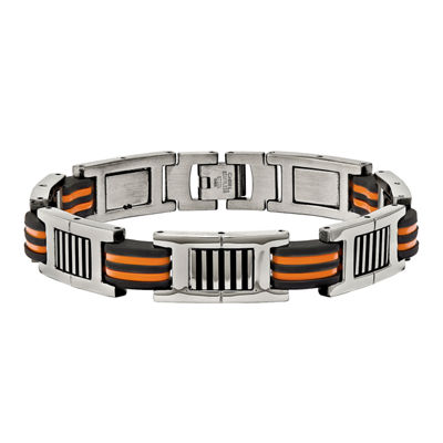 Mens Stainless Steel Orange & Black Rubber Chain Bracelet