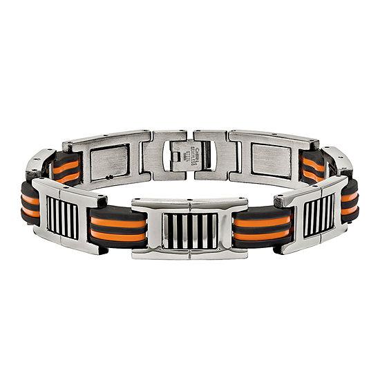 Mens Stainless Steel Orange & Black Rubber Chain Bracelet