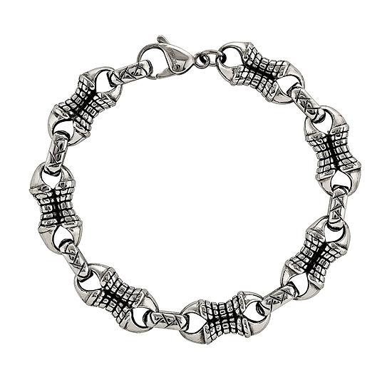 Mens Stainless Steel Patterned Chain Bracelet
