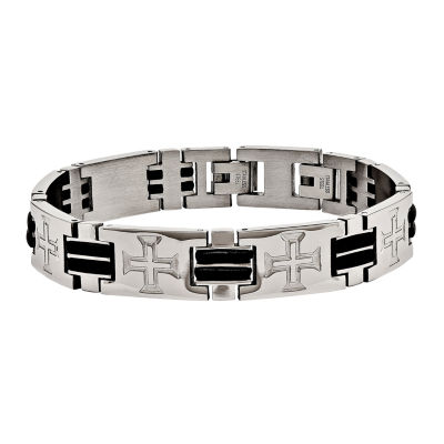 Mens Stainless Steel & Black Rubber Cross Adjustable Chain Bracelet