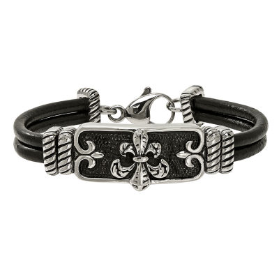 Mens Stainless Steel & Black Leather Antiqued Fleur De Lis Bracelet