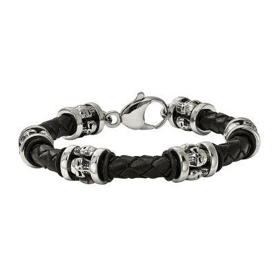 Mens Stainless Steel & Black Leather Skull Bracelet