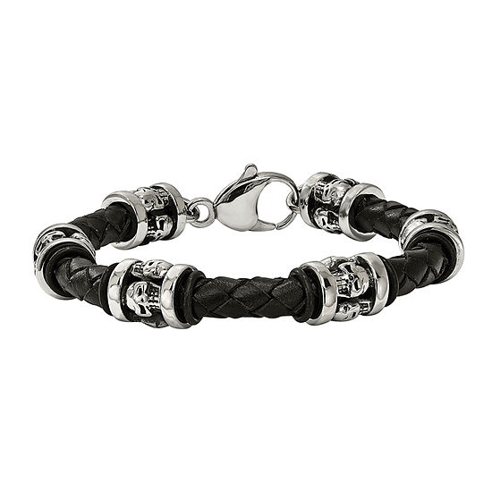 Mens Stainless Steel Black Leather Skull Bracelet