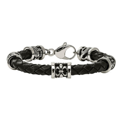 Mens Stainless Steel & Leather Fleur De Lis Dragon Bracelet