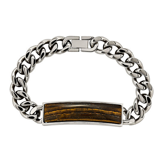 Mens Tigers Eye Stainless Steel Chain Bracelet