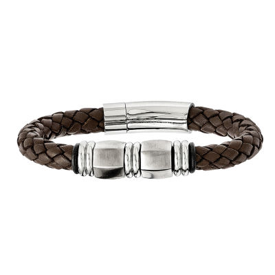 Mens Stainless Steel Brown Leather & Black Rubber Bracelet