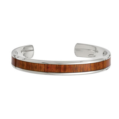 Mens Stainless Steel Red & Orange Wood Inlay Cuff Bracelet