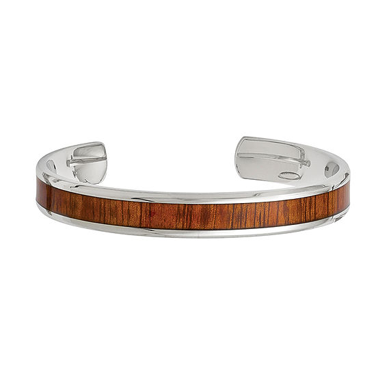 Mens Stainless Steel Red Orange Wood Inlay Cuff Bracelet