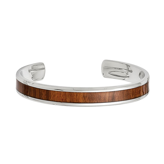 Mens Stainless Steel & Brown Wood Inlay Cuff Bracelet