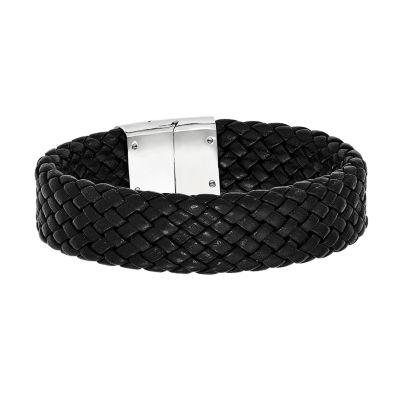 Mens Stainless Steel & Black Leather Bracelet