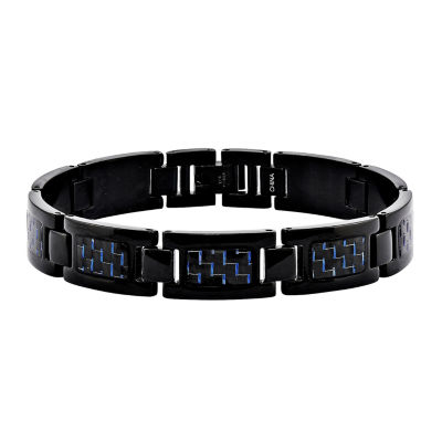 Mens Stainless Steel Black Ip-Plated W/Blue Carbon Fiber Chain Bracelet