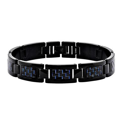 Mens Stainless Steel Black Ip-Plated W/Blue Carbon Fiber Chain Bracelet