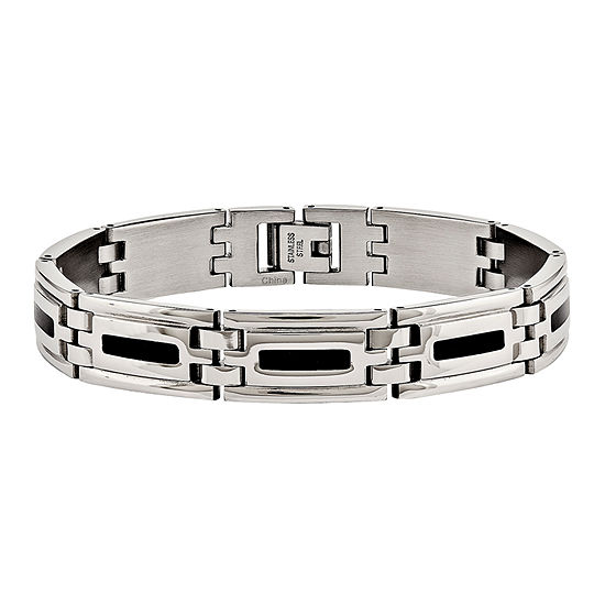 Mens Stainless Steel & Black Enamel Chain Bracelet