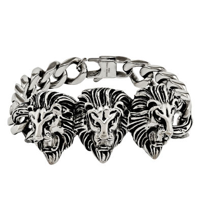 Mens Stainless Steel Lion Head Chain Bracelet