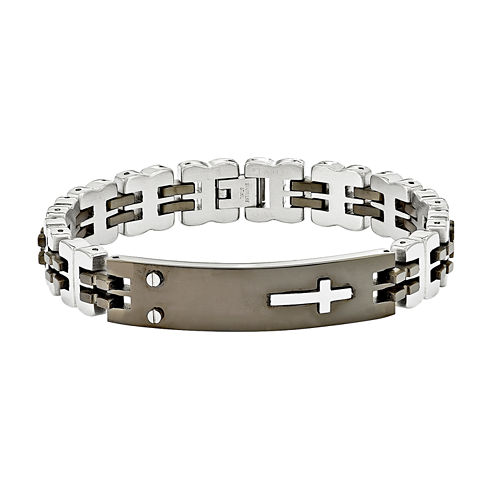 Mens Stainless Steel Black Ip-Plated Id Chain Bracelet
