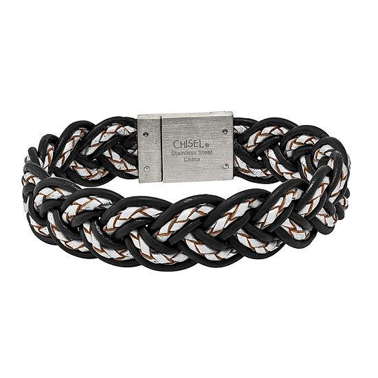 Mens Stainless Steel Black & Grey Leather Bracelet