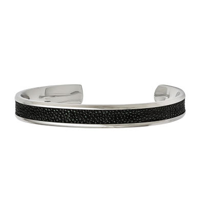 Mens Stainless Steel Stingray Cuff Bracelet