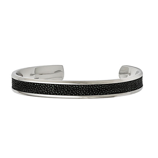 Mens Black Cuff Bracelet Stainless Steel