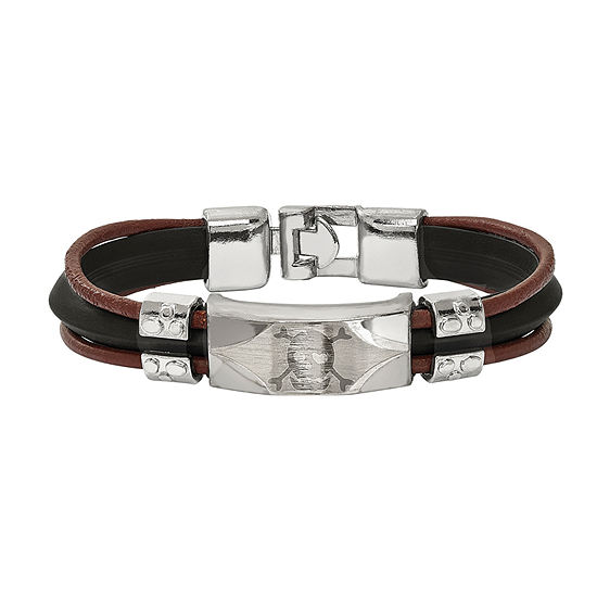 Mens Stainless Steel & Faux Leather Skull Bracelet